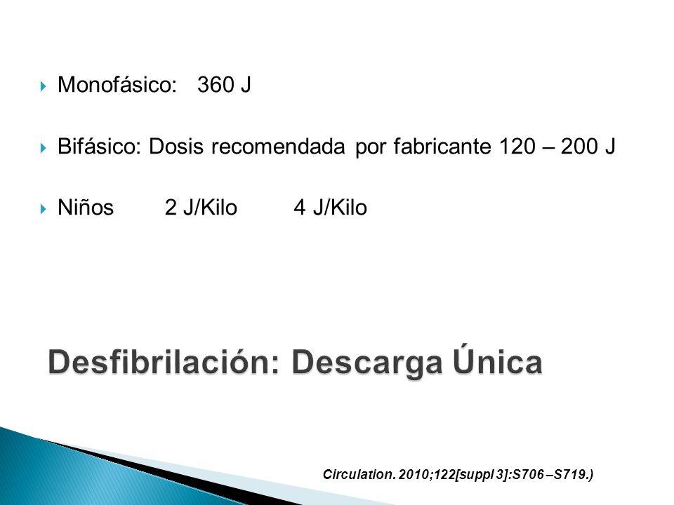 Monofásico: 360 J Bifásico: Dosis recomendada por fabricante 120 – 200 J Niños 2 J/Kilo 4 J/Kilo Circulation. 2010;122[suppl 3]:S706 –S719.)
