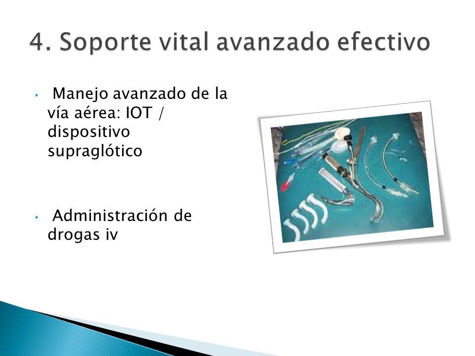 Manejo avanzado de la vía aérea: IOT / dispositivo supraglótico Administración de drogas iv