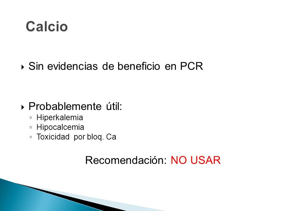 Sin evidencias de beneficio en PCR Probablemente útil: Hiperkalemia Hipocalcemia Toxicidad por bloq.