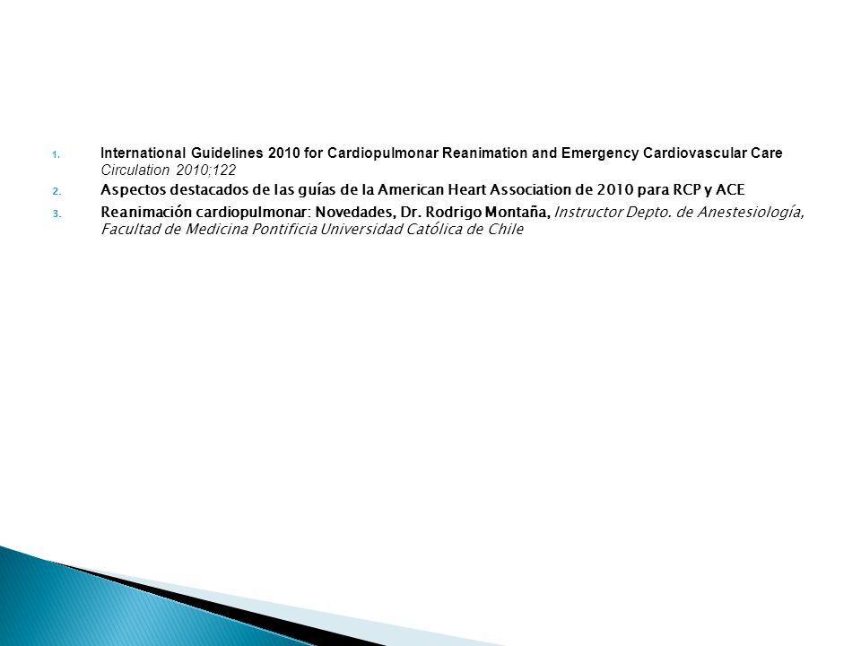 1. International Guidelines 2010 for Cardiopulmonar Reanimation and Emergency Cardiovascular Care Circulation 2010;122 2. Aspectos destacados de las g