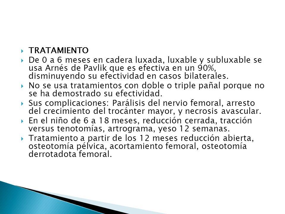 TRATAMIENTO De 0 a 6 meses en cadera luxada, luxable y subluxable se usa Arnés de Pavlik que es efectiva en un 90%, disminuyendo su efectividad en casos bilaterales.