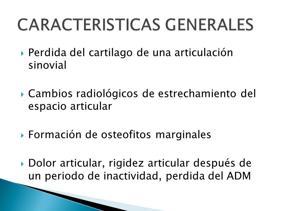 Perdida del cartilago de una articulación sinovial Cambios radiológicos de estrechamiento del espacio articular Formación de osteofitos marginales Dolor articular, rigidez articular después de un periodo de inactividad, perdida del ADM