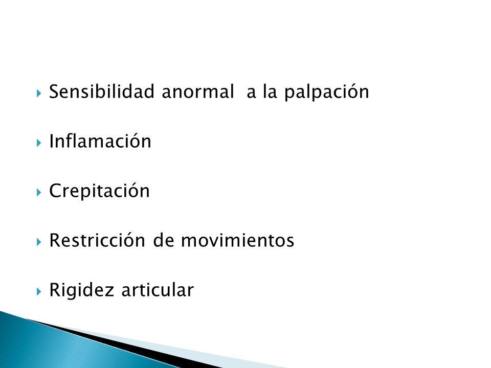 Sensibilidad anormal a la palpación Inflamación Crepitación Restricción de movimientos Rigidez articular