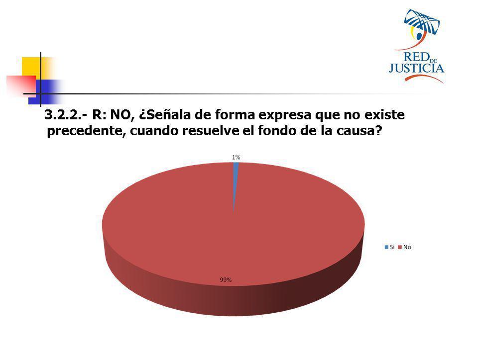 3.2.2.- R: NO, ¿Señala de forma expresa que no existe precedente, cuando resuelve el fondo de la causa