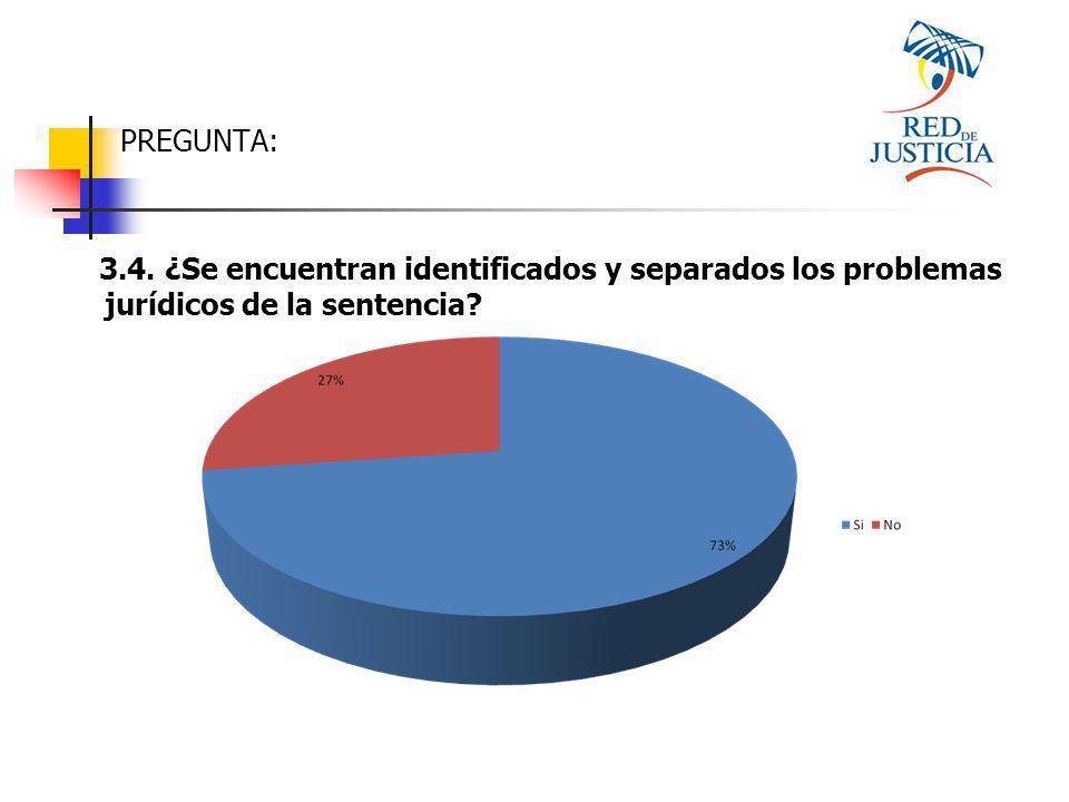 PREGUNTA: 3.4. ¿Se encuentran identificados y separados los problemas jurídicos de la sentencia