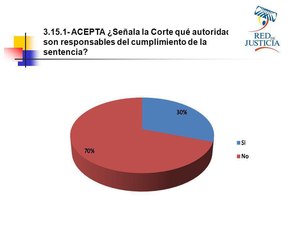 3.15.1- ACEPTA ¿Señala la Corte qué autoridades son responsables del cumplimiento de la sentencia