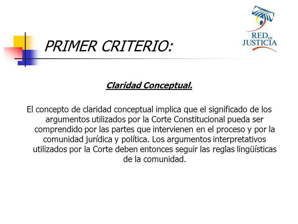 PRIMER CRITERIO: Claridad Conceptual.