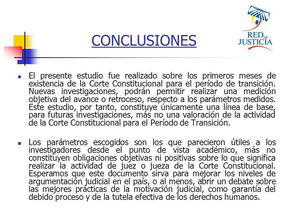 El presente estudio fue realizado sobre los primeros meses de existencia de la Corte Constitucional para el período de transición.