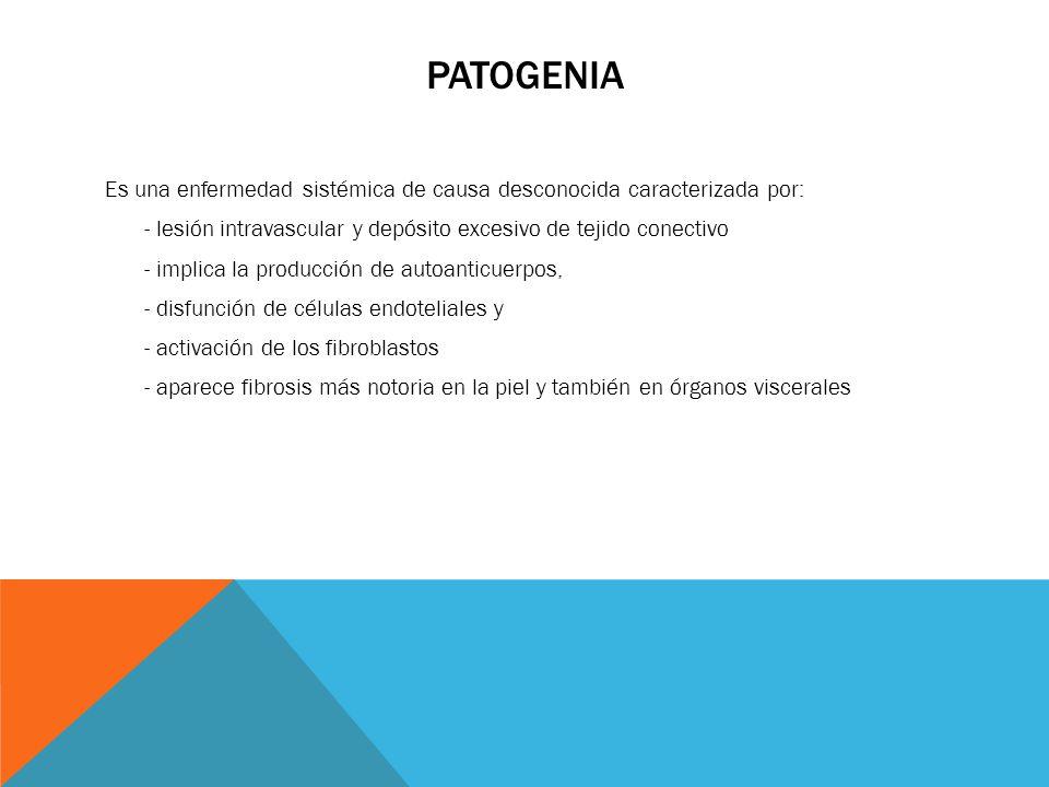 PATOGENIA Es una enfermedad sistémica de causa desconocida caracterizada por: - lesión intravascular y depósito excesivo de tejido conectivo - implica