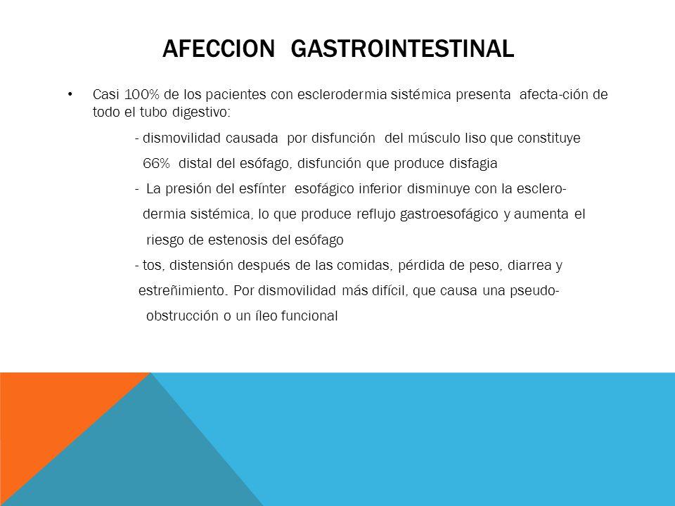 AFECCION GASTROINTESTINAL Casi 100% de los pacientes con esclerodermia sistémica presenta afecta-ción de todo el tubo digestivo: - dismovilidad causad