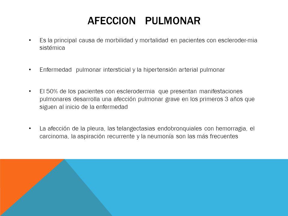 AFECCION PULMONAR Es la principal causa de morbilidad y mortalidad en pacientes con escleroder-mia sistémica Enfermedad pulmonar intersticial y la hip
