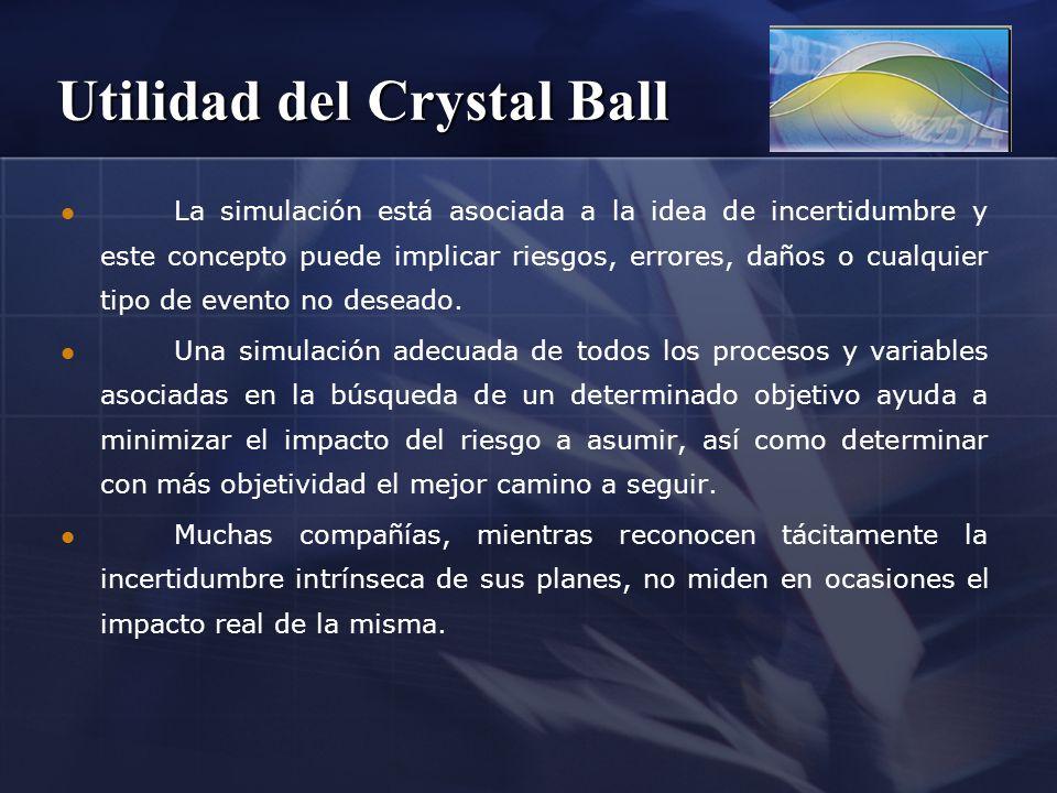 Utilidad del Crystal Ball La simulación está asociada a la idea de incertidumbre y este concepto puede implicar riesgos, errores, daños o cualquier ti