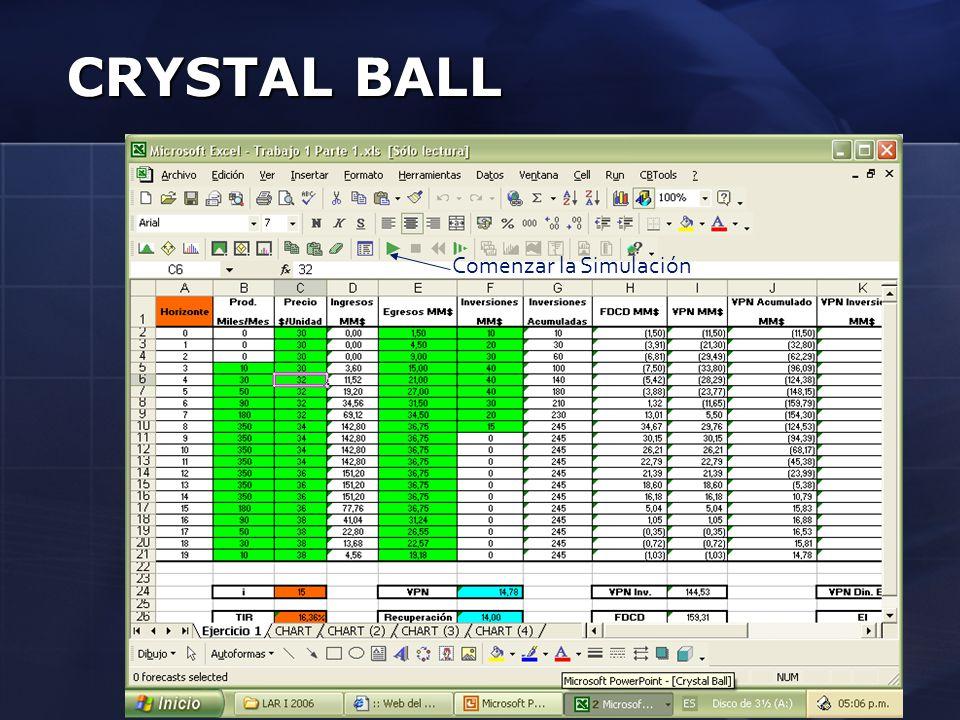 CRYSTAL BALL Comenzar la Simulación