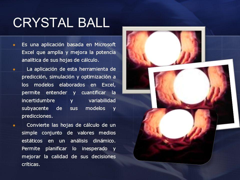 CRYSTAL BALL Es una aplicación basada en Microsoft Excel que amplía y mejora la potencia analítica de sus hojas de cálculo. La aplicación de esta herr