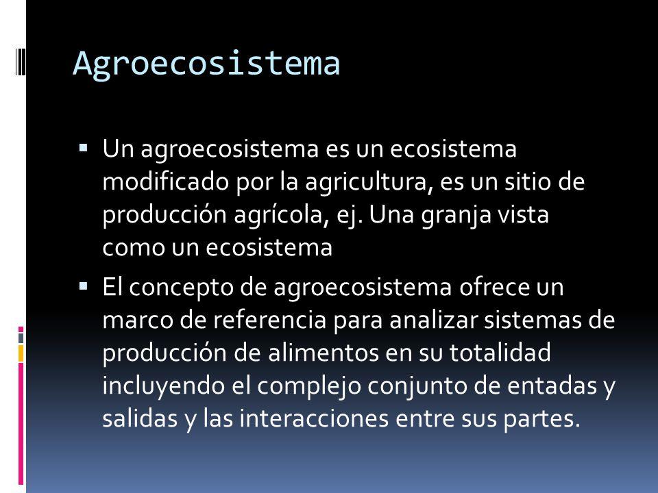Agroecosistema Un agroecosistema es un ecosistema modificado por la agricultura, es un sitio de producción agrícola, ej. Una granja vista como un ecos