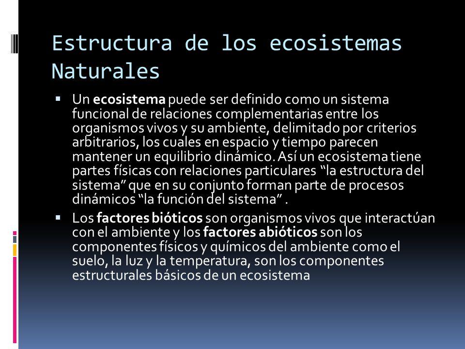 Estructura de los ecosistemas Naturales Un ecosistema puede ser definido como un sistema funcional de relaciones complementarias entre los organismos vivos y su ambiente, delimitado por criterios arbitrarios, los cuales en espacio y tiempo parecen mantener un equilibrio dinámico.