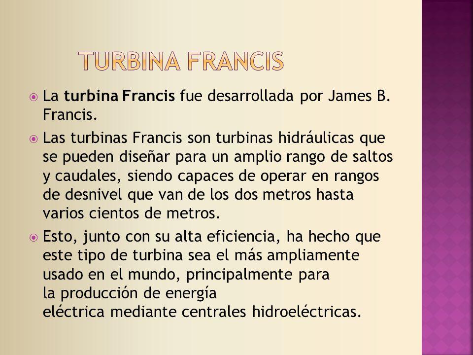La turbina Francis fue desarrollada por James B.Francis.
