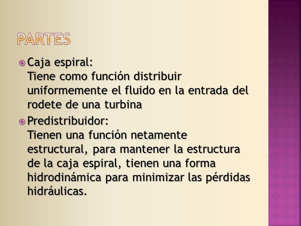 Caja espiral: Tiene como función distribuir uniformemente el fluido en la entrada del rodete de una turbina Caja espiral: Tiene como función distribuir uniformemente el fluido en la entrada del rodete de una turbina Predistribuidor: Tienen una función netamente estructural, para mantener la estructura de la caja espiral, tienen una forma hidrodinámica para minimizar las pérdidas hidráulicas.