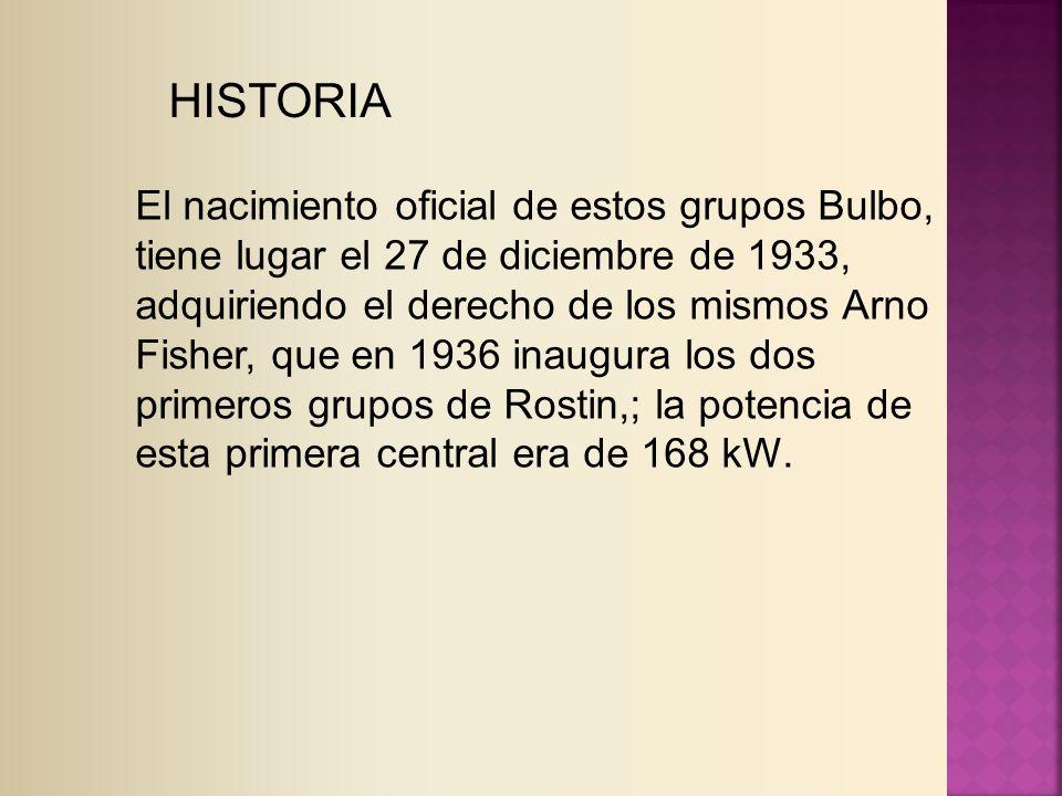 HISTORIA El nacimiento oficial de estos grupos Bulbo, tiene lugar el 27 de diciembre de 1933, adquiriendo el derecho de los mismos Arno Fisher, que en 1936 inaugura los dos primeros grupos de Rostin,; la potencia de esta primera central era de 168 kW.