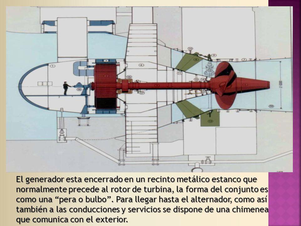 El generador esta encerrado en un recinto metálico estanco que normalmente precede al rotor de turbina, la forma del conjunto es como una pera o bulbo.