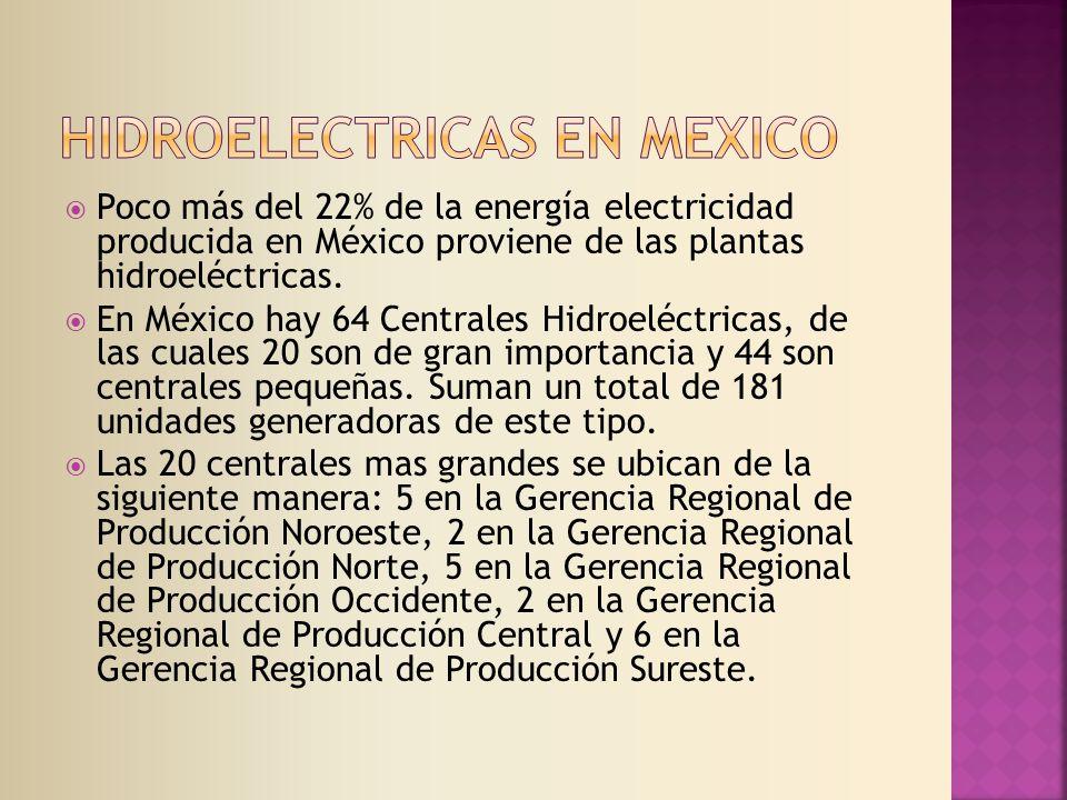 Poco más del 22% de la energía electricidad producida en México proviene de las plantas hidroeléctricas.