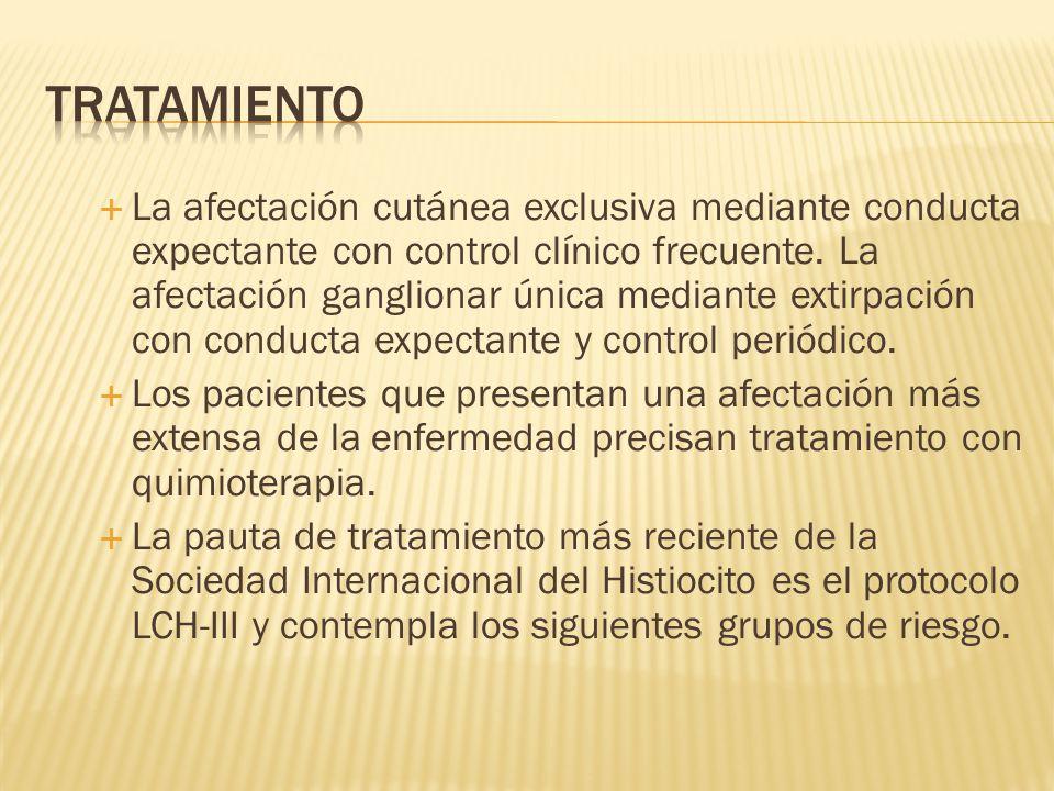 La afectación cutánea exclusiva mediante conducta expectante con control clínico frecuente.