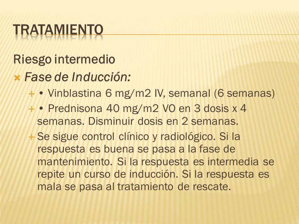Riesgo intermedio Fase de Inducción: Vinblastina 6 mg/m2 IV, semanal (6 semanas) Prednisona 40 mg/m2 VO en 3 dosis x 4 semanas.
