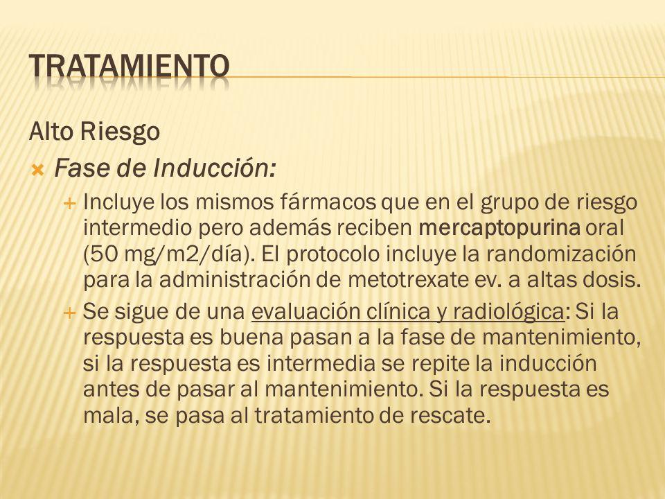 Alto Riesgo Fase de Inducción: Incluye los mismos fármacos que en el grupo de riesgo intermedio pero además reciben mercaptopurina oral (50 mg/m2/día)