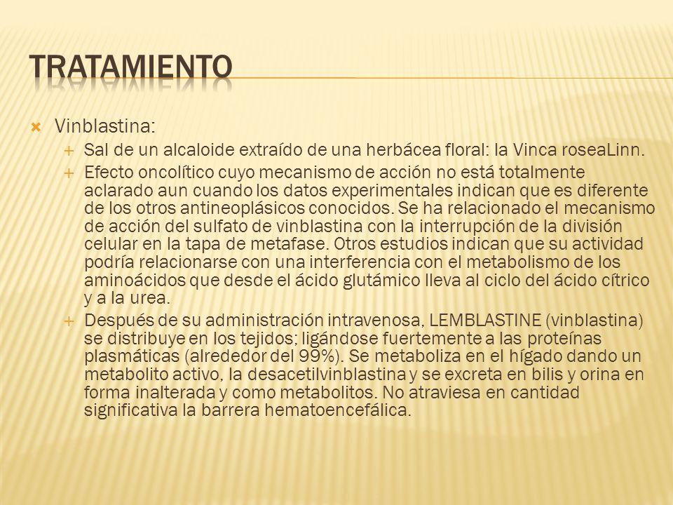 Vinblastina: Sal de un alcaloide extraído de una herbácea floral: la Vinca roseaLinn. Efecto oncolítico cuyo mecanismo de acción no está totalmente ac