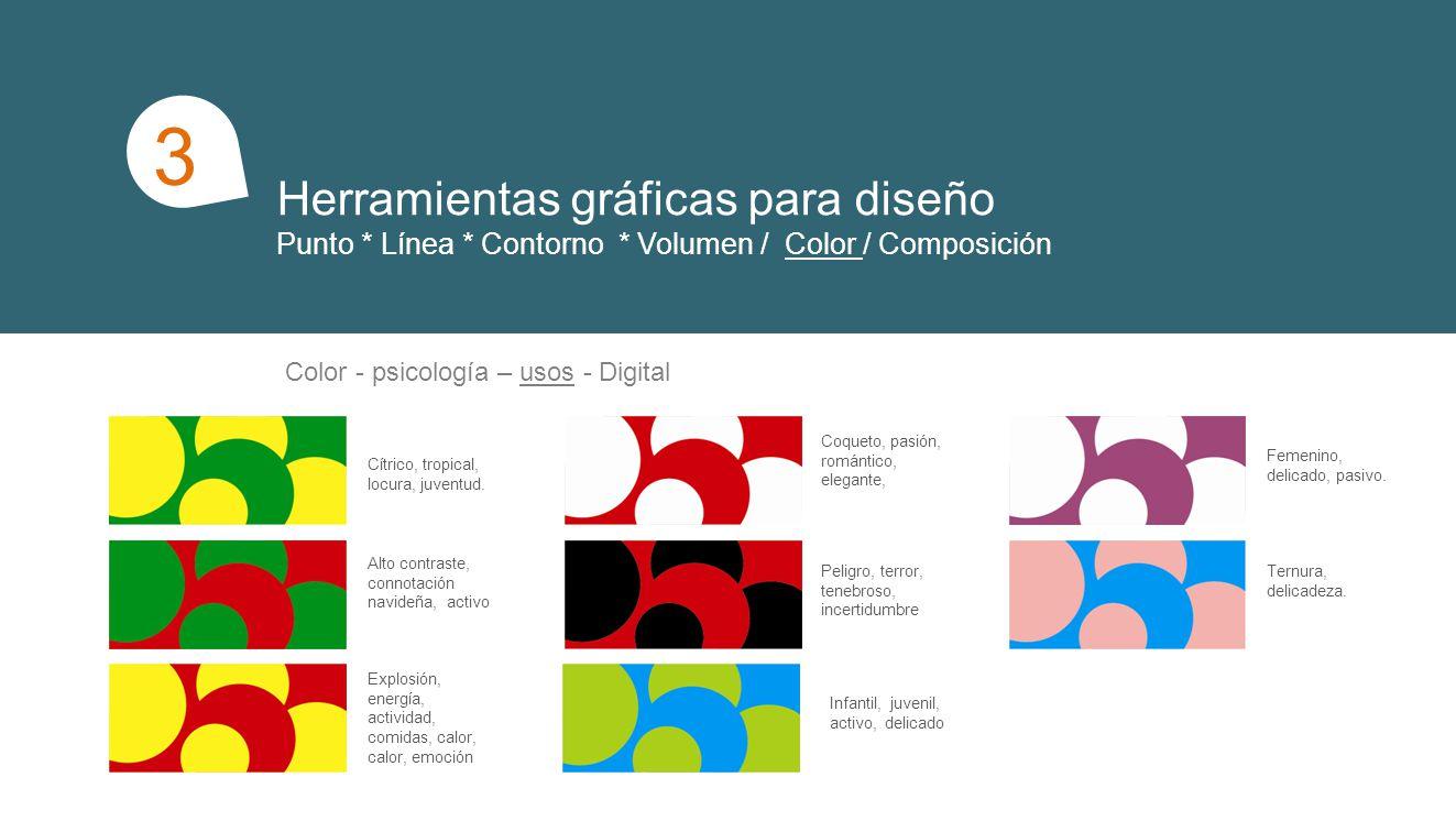 Herramientas gráficas para diseño Punto * Línea * Contorno * Volumen / Color / Composición 1 3 Color - psicología – usos - Digital Cítrico, tropical, locura, juventud.