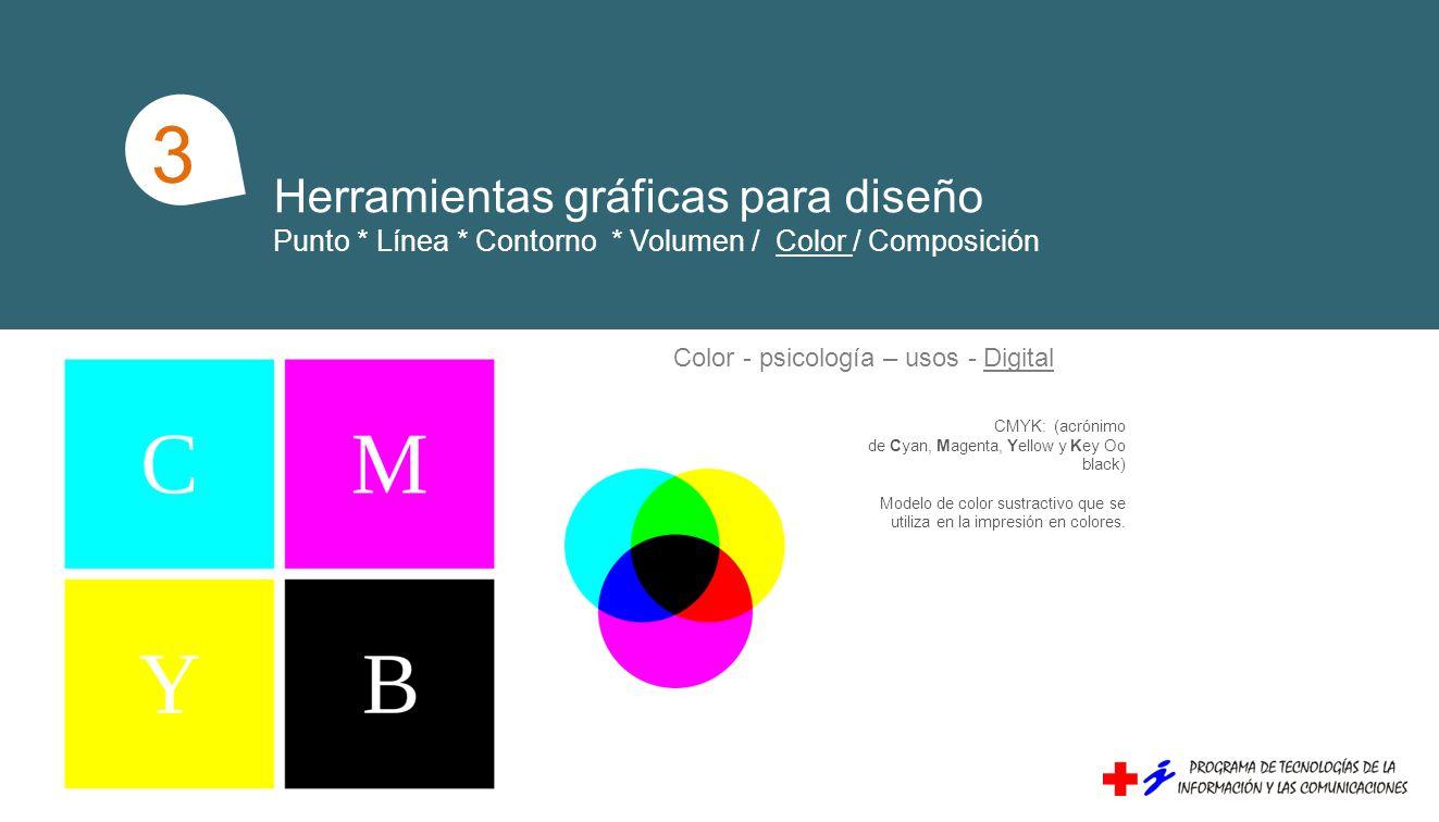 Herramientas gráficas para diseño Punto * Línea * Contorno * Volumen / Color / Composición 1 3 Color - psicología – usos - Digital CMYK: (acrónimo de Cyan, Magenta, Yellow y Key Oo black) Modelo de color sustractivo que se utiliza en la impresión en colores.