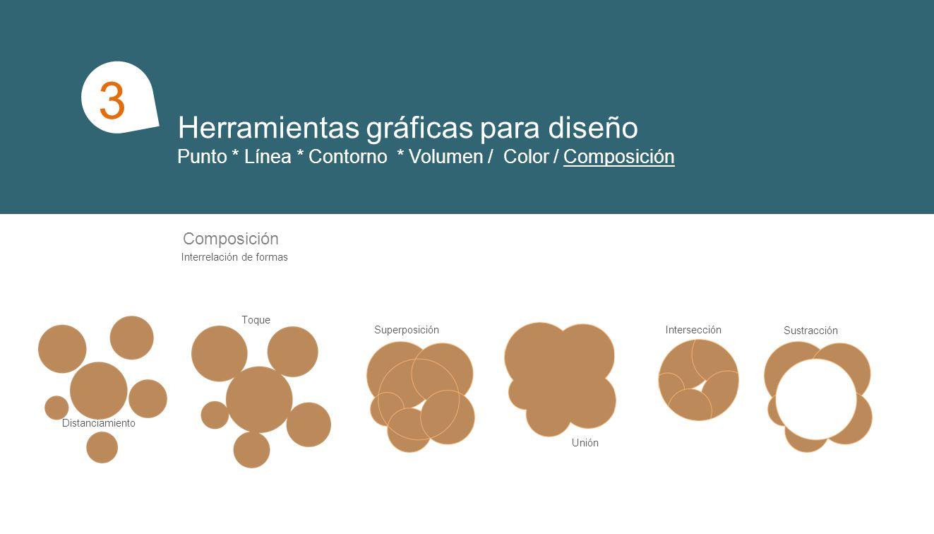 Herramientas gráficas para diseño Punto * Línea * Contorno * Volumen / Color / Composición 1 3 Composición Interrelación de formas Distanciamiento Toque Superposición Unión Sustracción Intersección