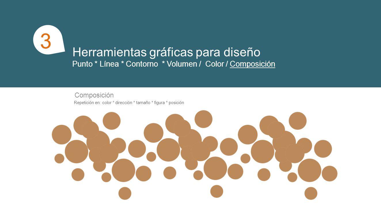 Herramientas gráficas para diseño Punto * Línea * Contorno * Volumen / Color / Composición 1 3 Composición Repetición en: color * dirección * tamaño *