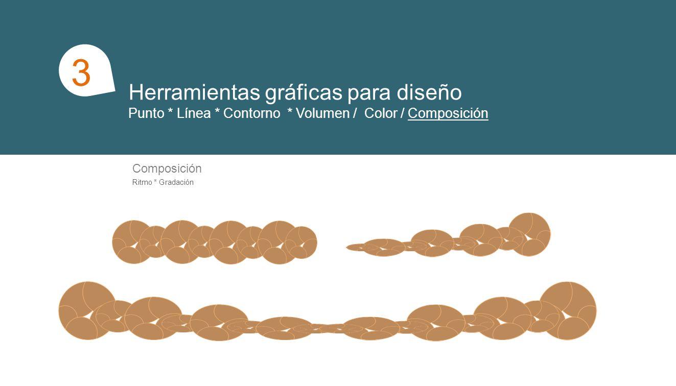 Herramientas gráficas para diseño Punto * Línea * Contorno * Volumen / Color / Composición 1 3 Composición Ritmo * Gradación