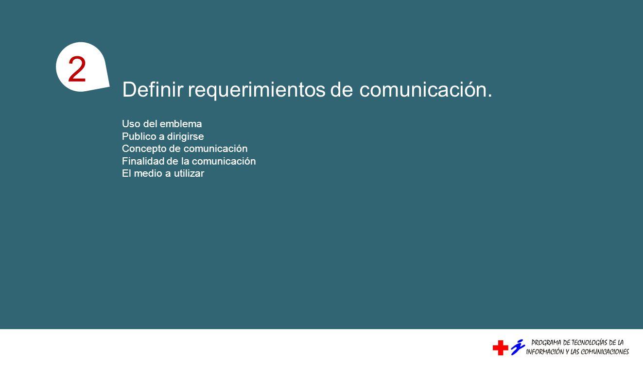Definir requerimientos de comunicación. Uso del emblema Publico a dirigirse Concepto de comunicación Finalidad de la comunicación El medio a utilizar
