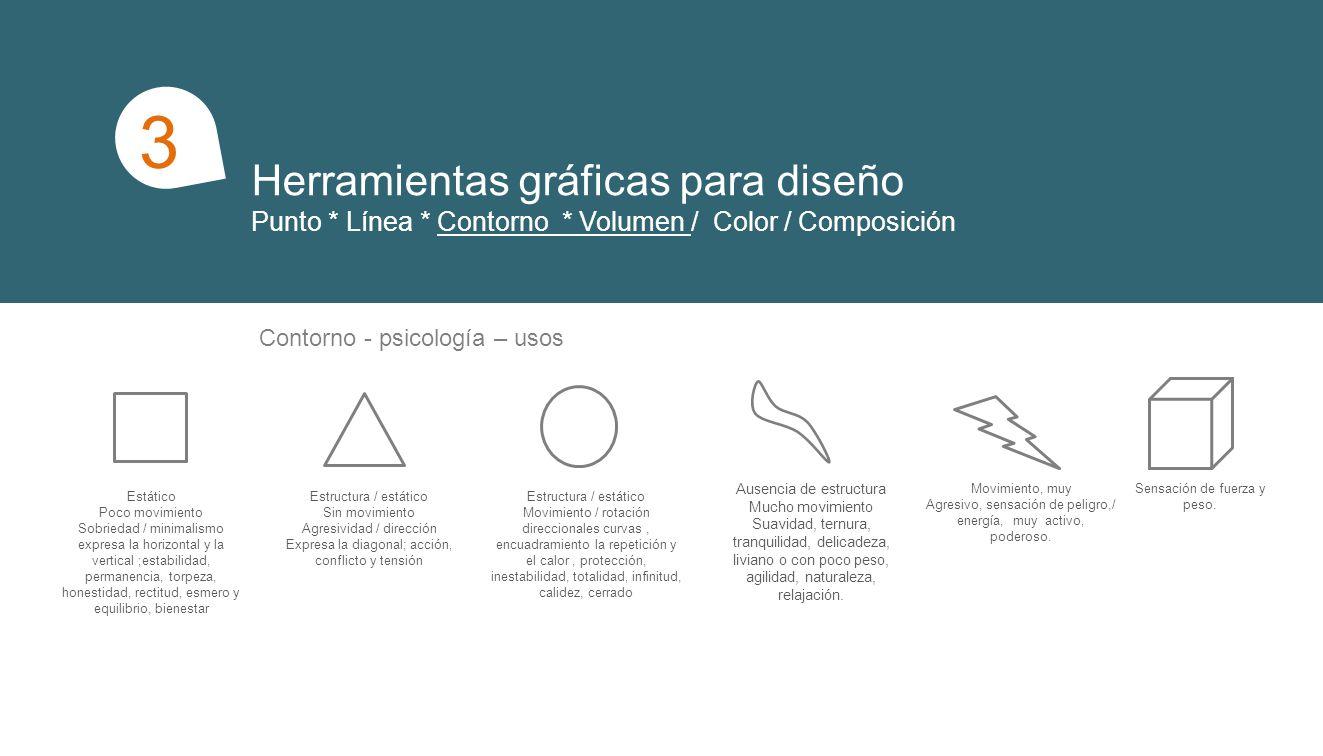 Herramientas gráficas para diseño Punto * Línea * Contorno * Volumen / Color / Composición 1 3 Composición Repetición en: color * dirección * tamaño * figura * posición