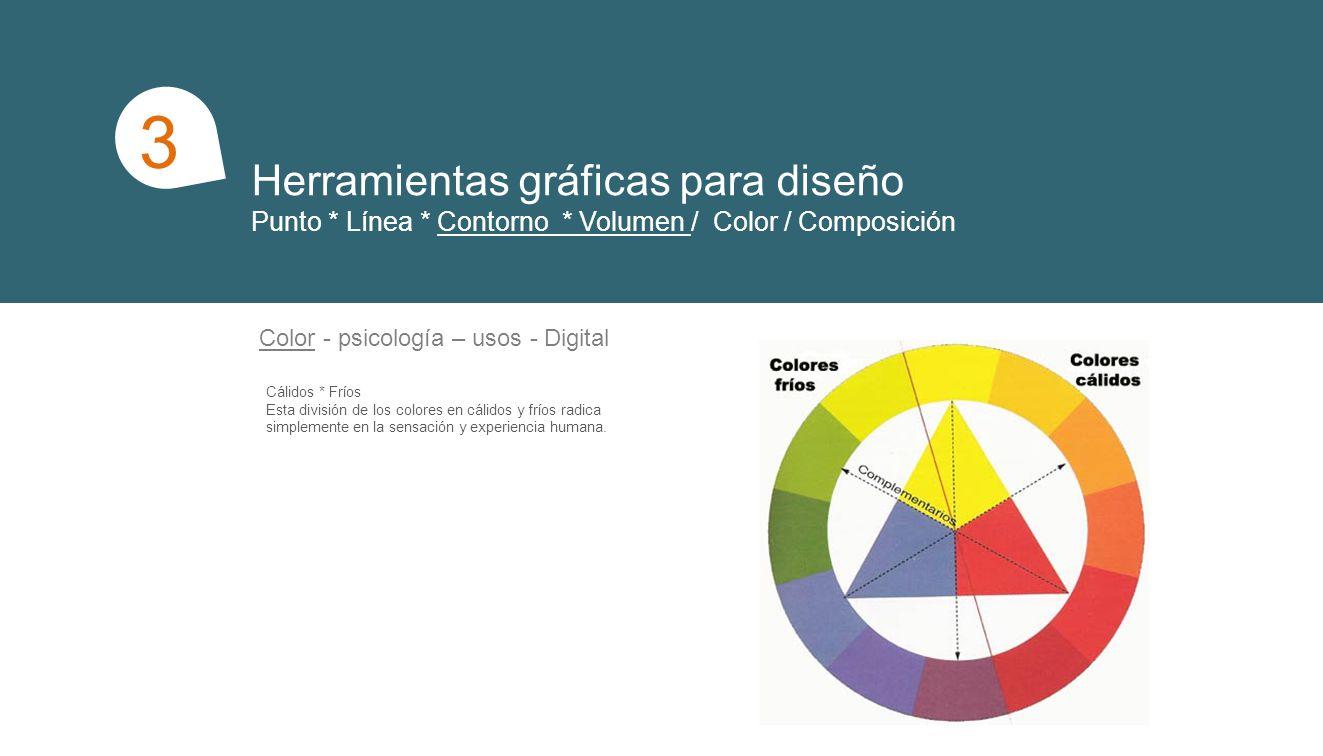 Herramientas gráficas para diseño Punto * Línea * Contorno * Volumen / Color / Composición 1 3 Composición Radiación/ concentración