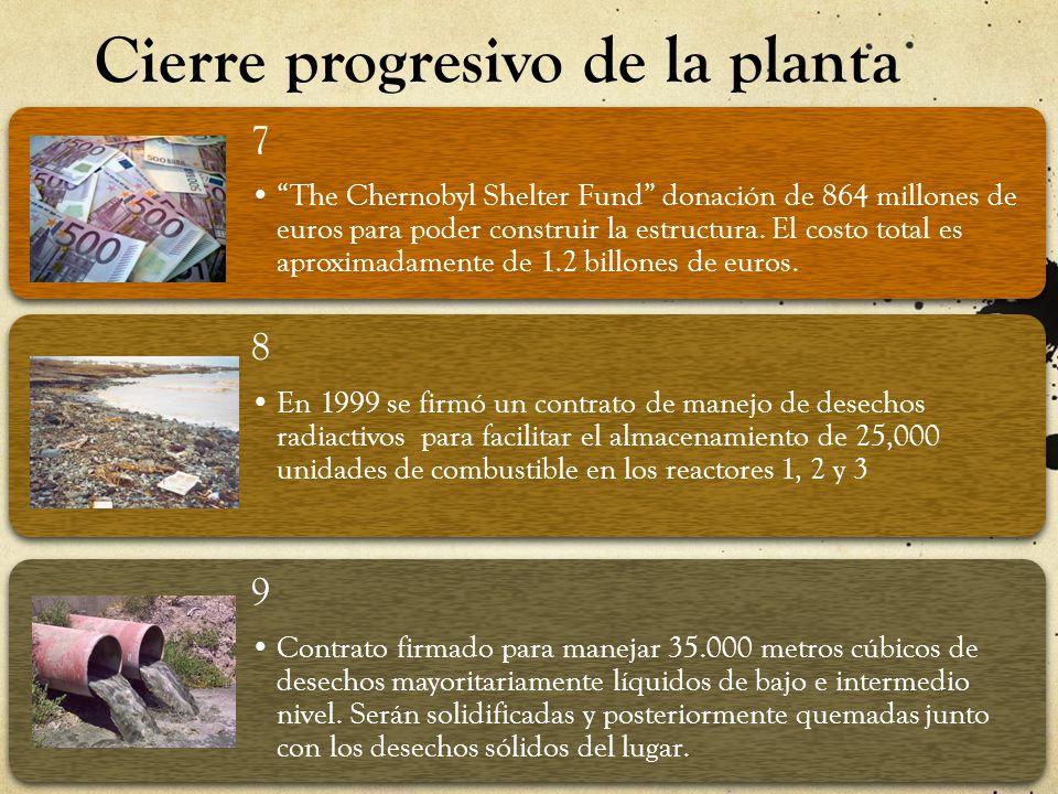 Cierre progresivo de la planta 7 The Chernobyl Shelter Fund donación de 864 millones de euros para poder construir la estructura. El costo total es ap