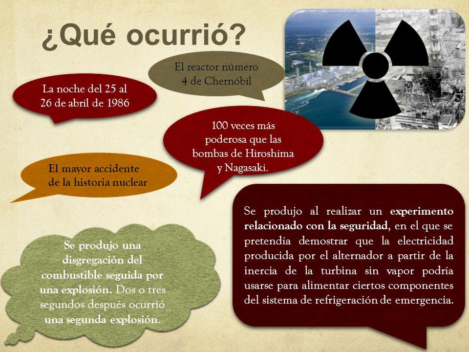 ¿Qué ocurrió? La noche del 25 al 26 de abril de 1986 El reactor número 4 de Chernóbil El mayor accidente de la historia nuclear Se produjo al realizar