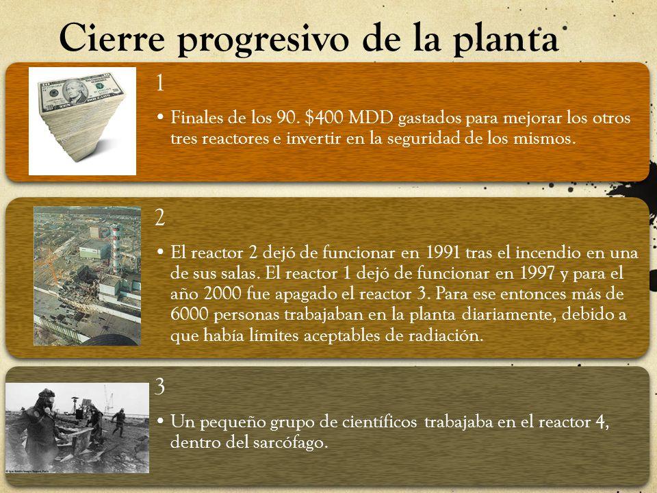 Cierre progresivo de la planta 1 Finales de los 90. $400 MDD gastados para mejorar los otros tres reactores e invertir en la seguridad de los mismos.