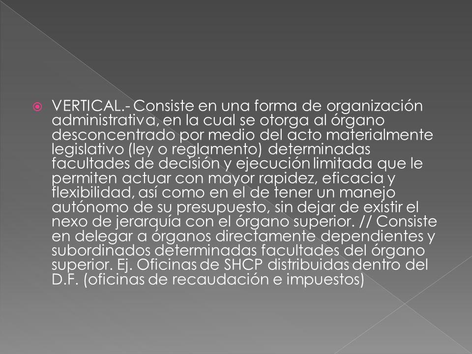 VERTICAL.- Consiste en una forma de organización administrativa, en la cual se otorga al órgano desconcentrado por medio del acto materialmente legisl