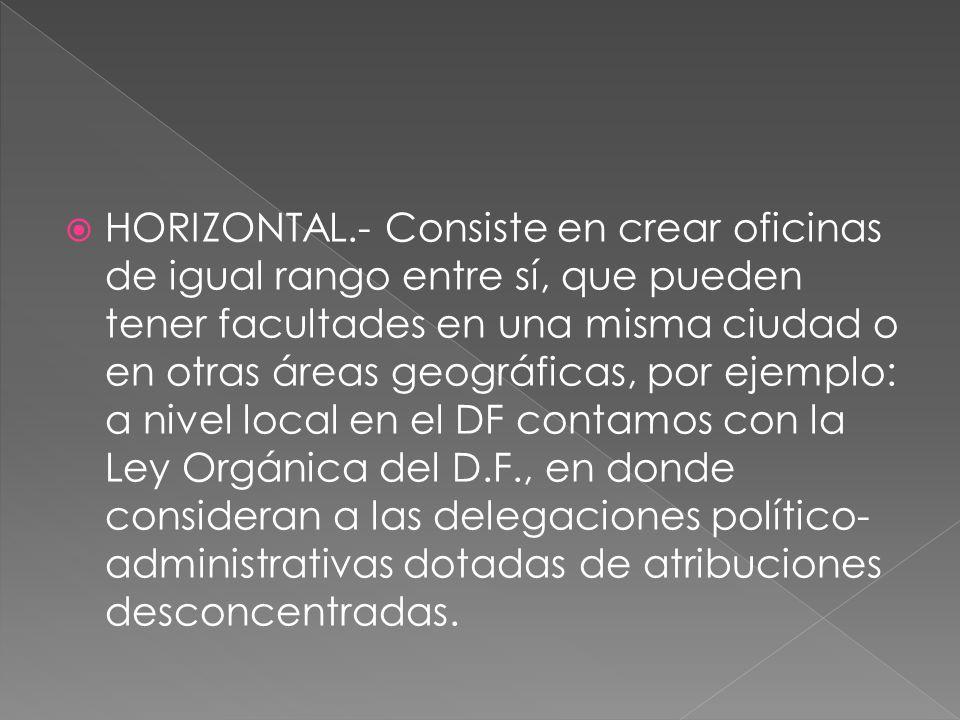HORIZONTAL.- Consiste en crear oficinas de igual rango entre sí, que pueden tener facultades en una misma ciudad o en otras áreas geográficas, por eje