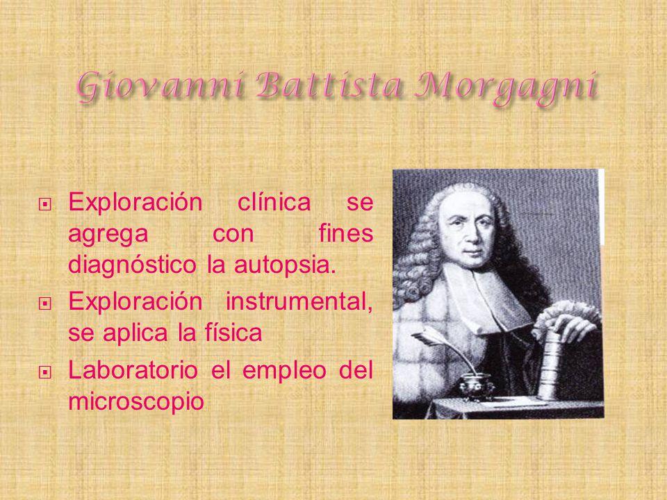 Exploración clínica se agrega con fines diagnóstico la autopsia. Exploración instrumental, se aplica la física Laboratorio el empleo del microscopio