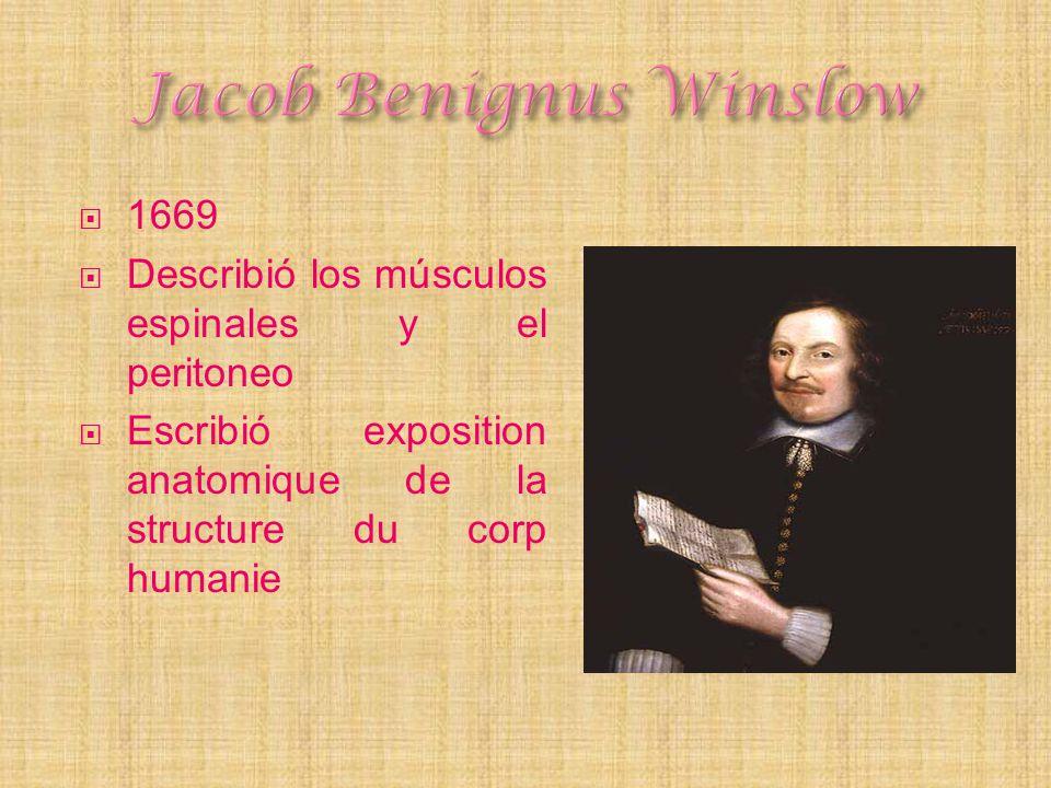 1669 Describió los músculos espinales y el peritoneo Escribió exposition anatomique de la structure du corp humanie