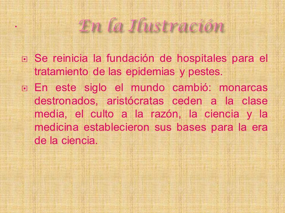 . Se reinicia la fundación de hospitales para el tratamiento de las epidemias y pestes. En este siglo el mundo cambió: monarcas destronados, aristócra