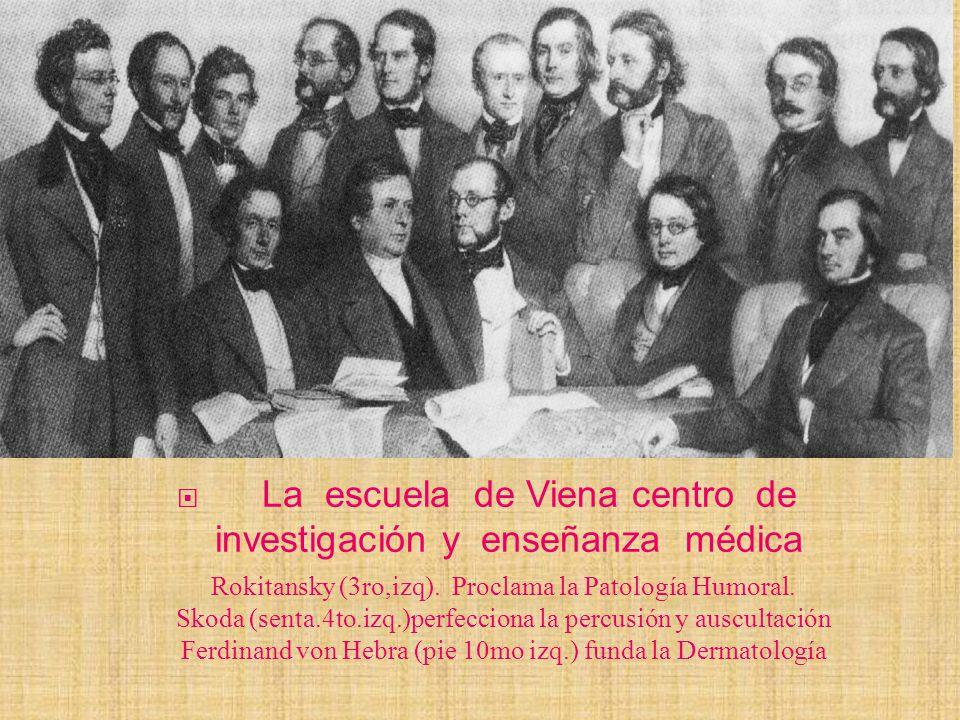 La escuela de Viena centro de investigación y enseñanza médica Rokitansky (3ro,izq). Proclama la Patología Humoral. Skoda (senta.4to.izq.)perfecciona