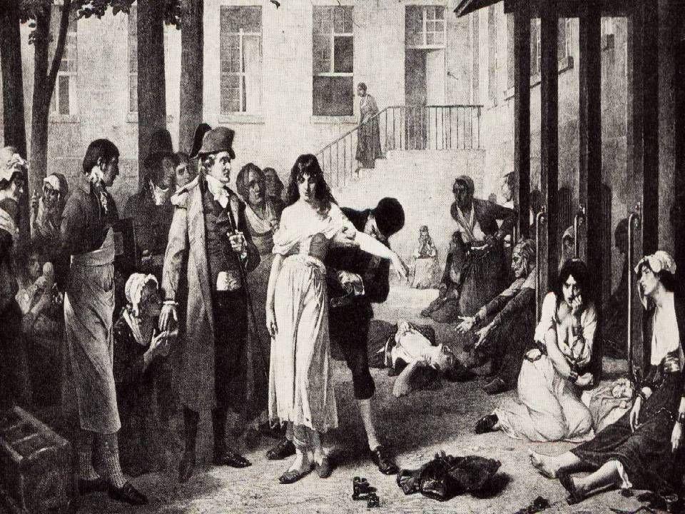 Hospital de la Salpetriere– los alienados son desencadenados por el Dr. P-Pinel
