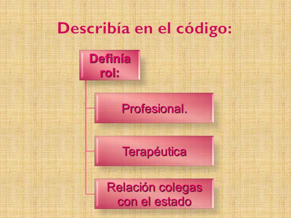 Definía rol: Profesional. Terapéutica Relación colegas con el estado