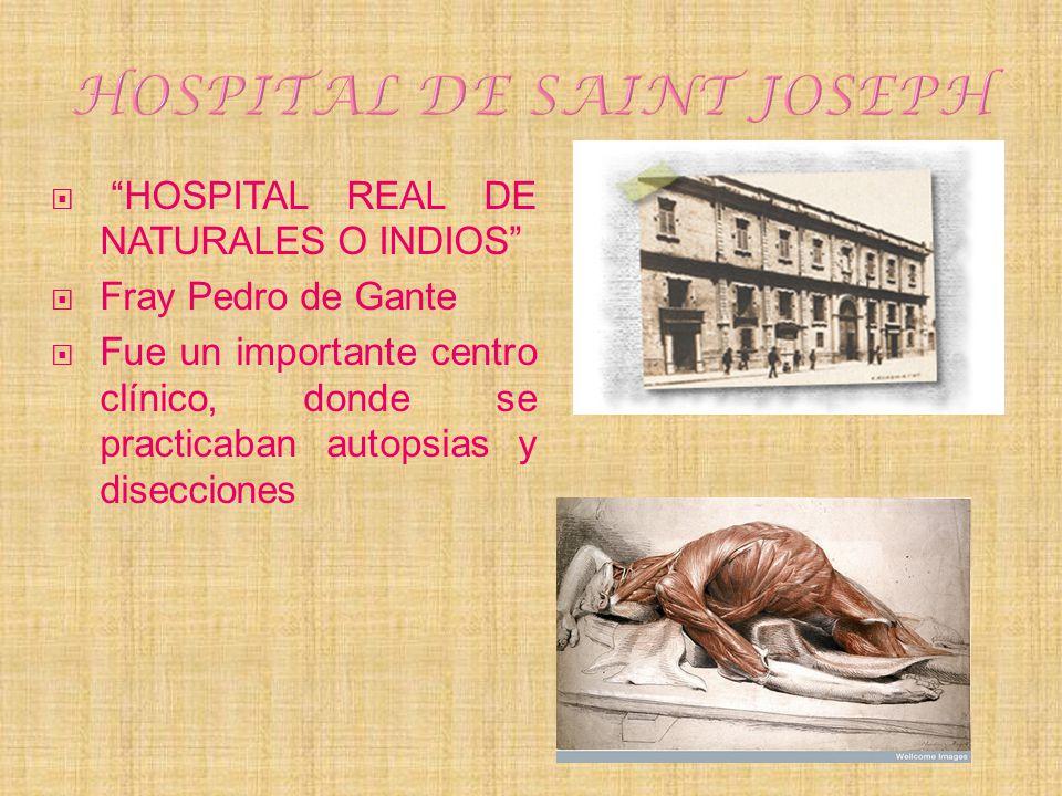 HOSPITAL REAL DE NATURALES O INDIOS Fray Pedro de Gante Fue un importante centro clínico, donde se practicaban autopsias y disecciones