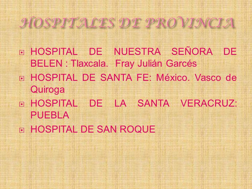 HOSPITAL DE NUESTRA SEÑORA DE BELEN : Tlaxcala. Fray Julián Garcés HOSPITAL DE SANTA FE: México. Vasco de Quiroga HOSPITAL DE LA SANTA VERACRUZ: PUEBL